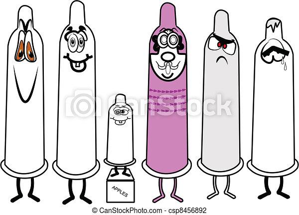 assorted condoms over white - csp8456892