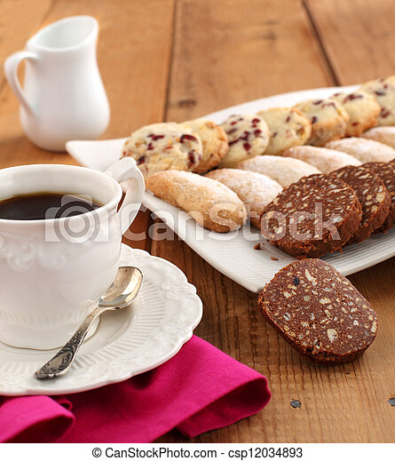 Assorted cookies and cup of coffee - csp12034893