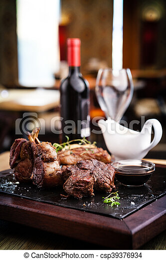 Assorted delicious steaks - csp39376934