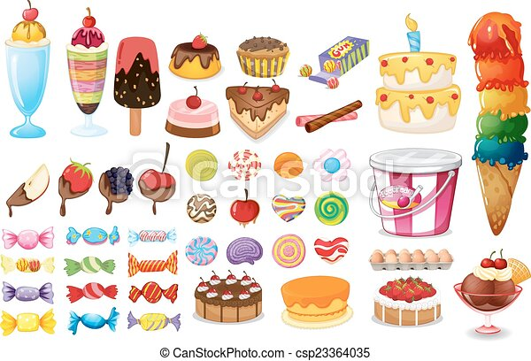 Assorted desserts and sweets - csp23364035