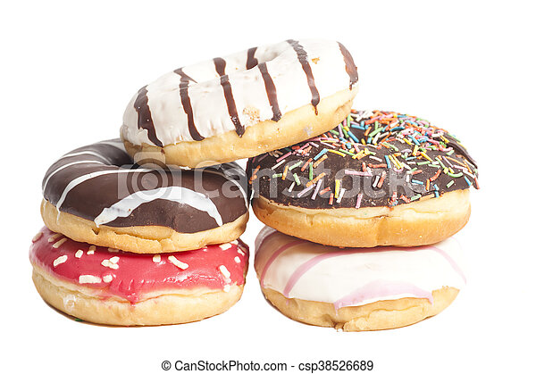 Assorted Donuts isolated on a white background - csp38526689