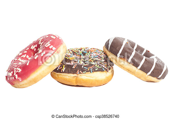 Assorted Donuts isolated on a white background - csp38526740