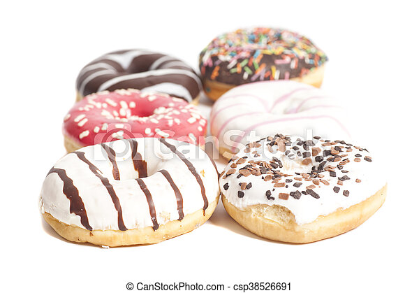 Assorted Donuts isolated on a white background - csp38526691