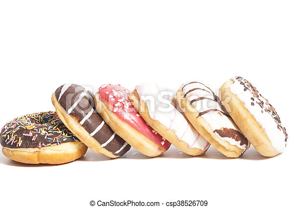 Assorted Donuts isolated on a white background - csp38526709