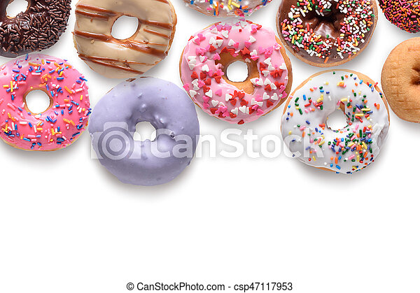 Assorted donuts isolated on white background - csp47117953