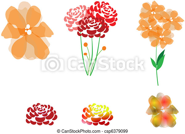assorted flowers clipart - csp6379099