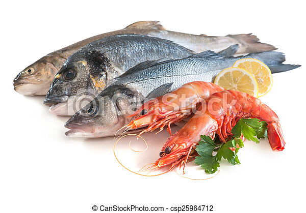 Assorted fresh seafood - csp25964712