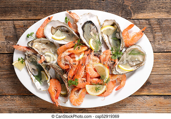 assorted fresh seafood platter - csp52919369