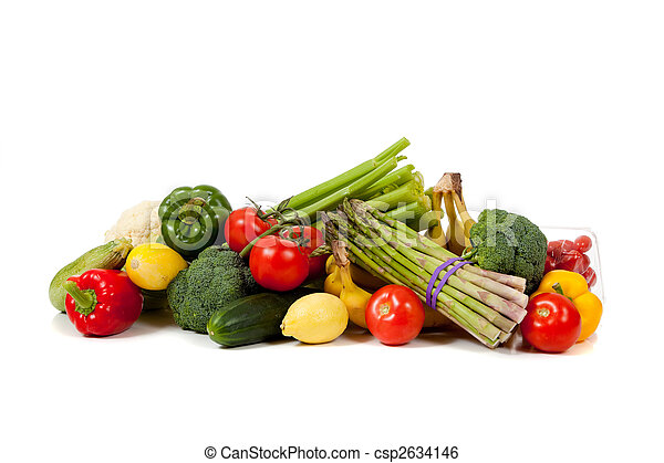 Assorted fruits and vegetables on a white background - csp2634146