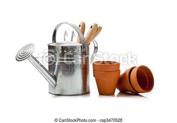 Assorted gardening supplies on a white background - csp3470528