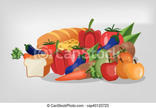 assorted healthy food icons image - csp40123723