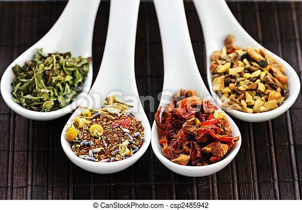 Assorted herbal wellness dry tea in spoons - csp2485942
