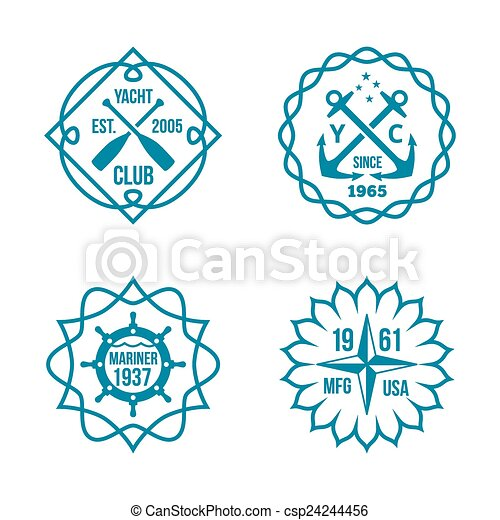 Assorted Hipster Logos on White Background - csp24244456