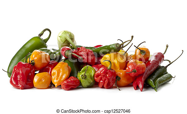 assorted mexican salsa vegetables peppers - csp12527046