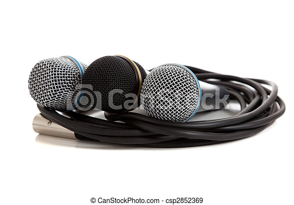Assorted microphones on white - csp2852369