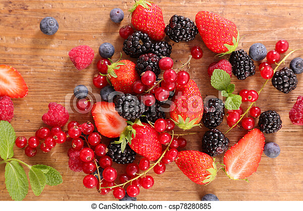 assorted of berries fruits- strawberry, blueberry, raspberry and red currant - csp78280885