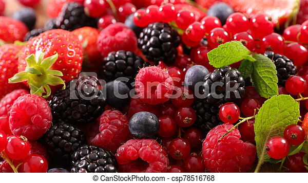assorted of berries fruits- strawberry, raspberry, blueberry and backberry - csp78516768