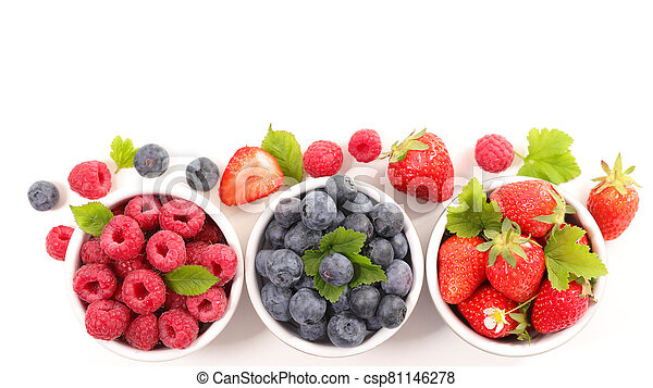 assorted of berry fruit- blueberry, strawberry and raspberry isolated on white background - csp81146278