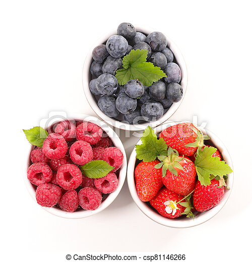 assorted of berry fruit- blueberry, strawberry and raspberry isolated on white background - csp81146266