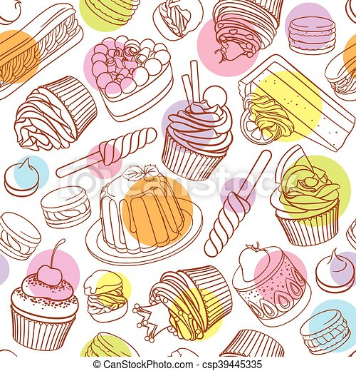 Assorted outlined colorful desserts. Seamless vector pattern with polka dots. - csp39445335