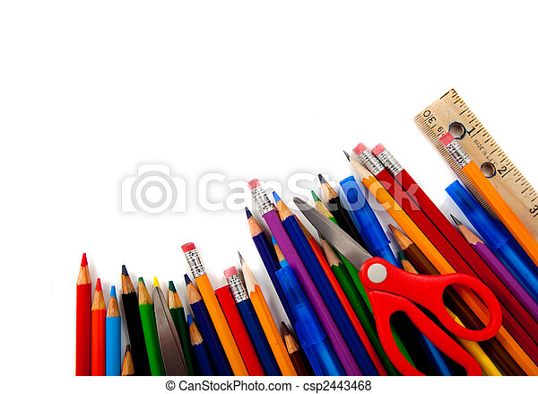 Assorted school supplies on white - csp2443468