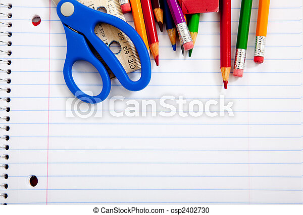 Assorted school supplies with notebooks - csp2402730