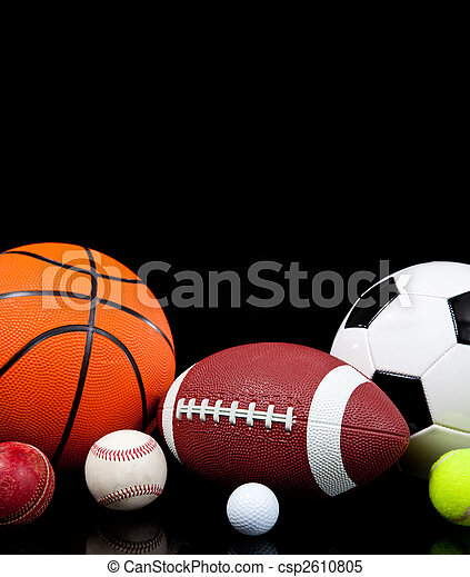 Assorted sports balls on a black background - csp2610805