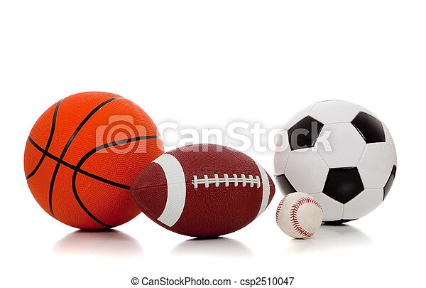Assorted sports balls on white - csp2510047