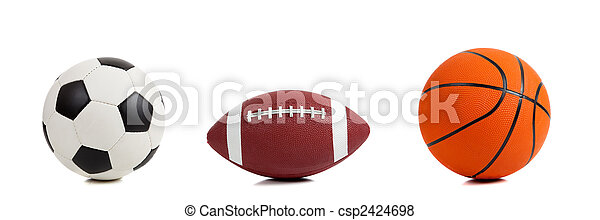 Assorted Sports Balls on White - csp2424698