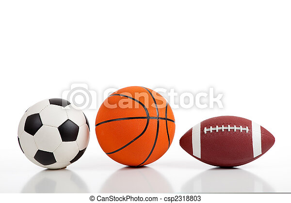 Assorted Sports Balls on White - csp2318803