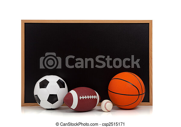 assorted sports balls with a chalkboard background - csp2515171