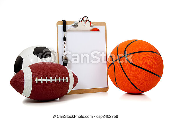 Assorted sports balls with a Clipboard - csp2402758