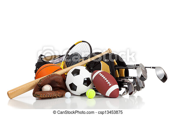 Assorted sports equipment on a white background - csp13453875