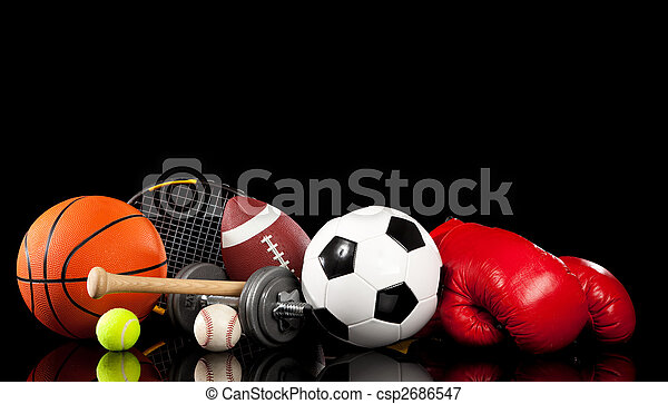 Assorted sports equipment on black - csp2686547