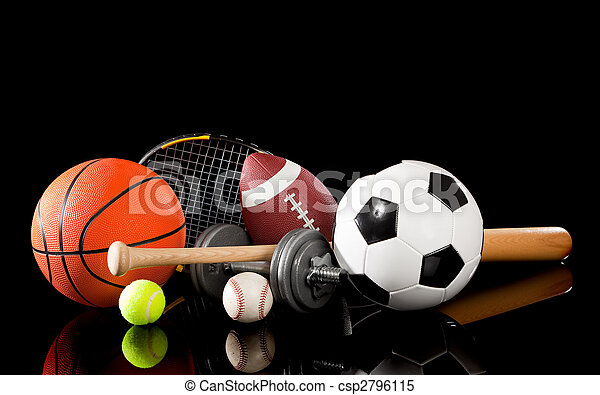 Assorted sports equipment on black - csp2796115