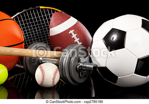 Assorted sports equipment on black - csp2785189