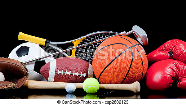 Assorted sports equipment on black - csp2802123