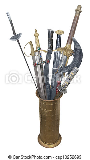 Assorted Swords in a Brass Stand - csp10252693