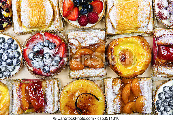 Assorted tarts and pastries - csp3511310