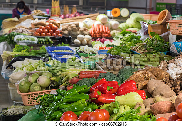 Assorted vegetables in a market - csp66702915