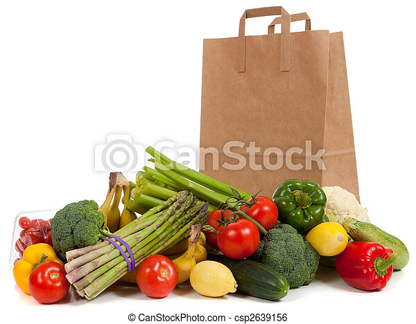 Assorted vegetables with a grocery sack - csp2639156