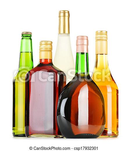 assorti, bouteilles, boissons alcooliques, isolé, blanc - csp17932301