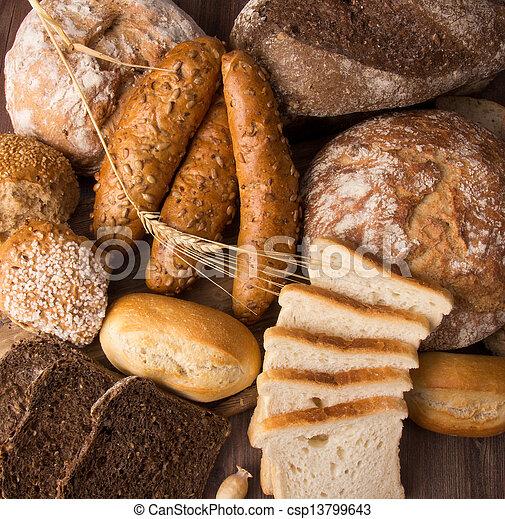 assortment of baked bread - csp13799643