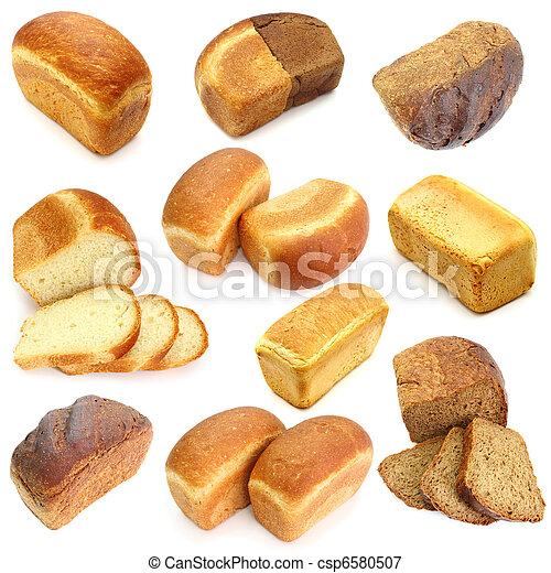 Assortment of different types of bread isolated on white background - csp6580507