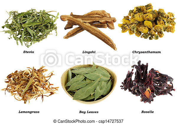Assortment Of Dried Herbal Tea From Leaves Flowers Isolated On White Background