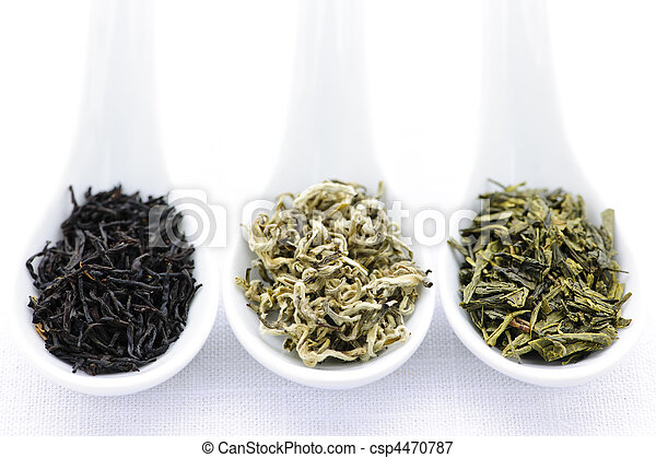 Assortment of dry tea leaves in spoons - csp4470787