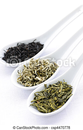 Assortment of dry tea leaves in spoons - csp4470778