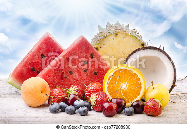assortment of fresh fruit - csp77208930