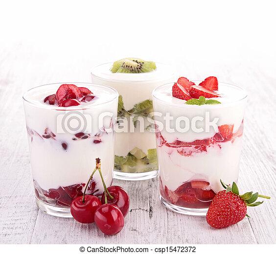 assortment of fruit and yogurt - csp15472372