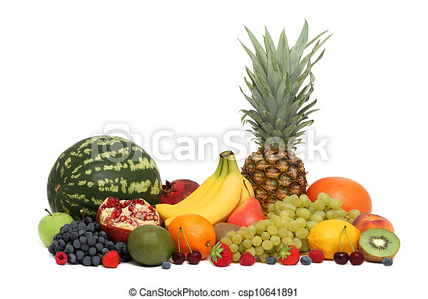Assortment of fruits and berries (isolated) - csp10641891